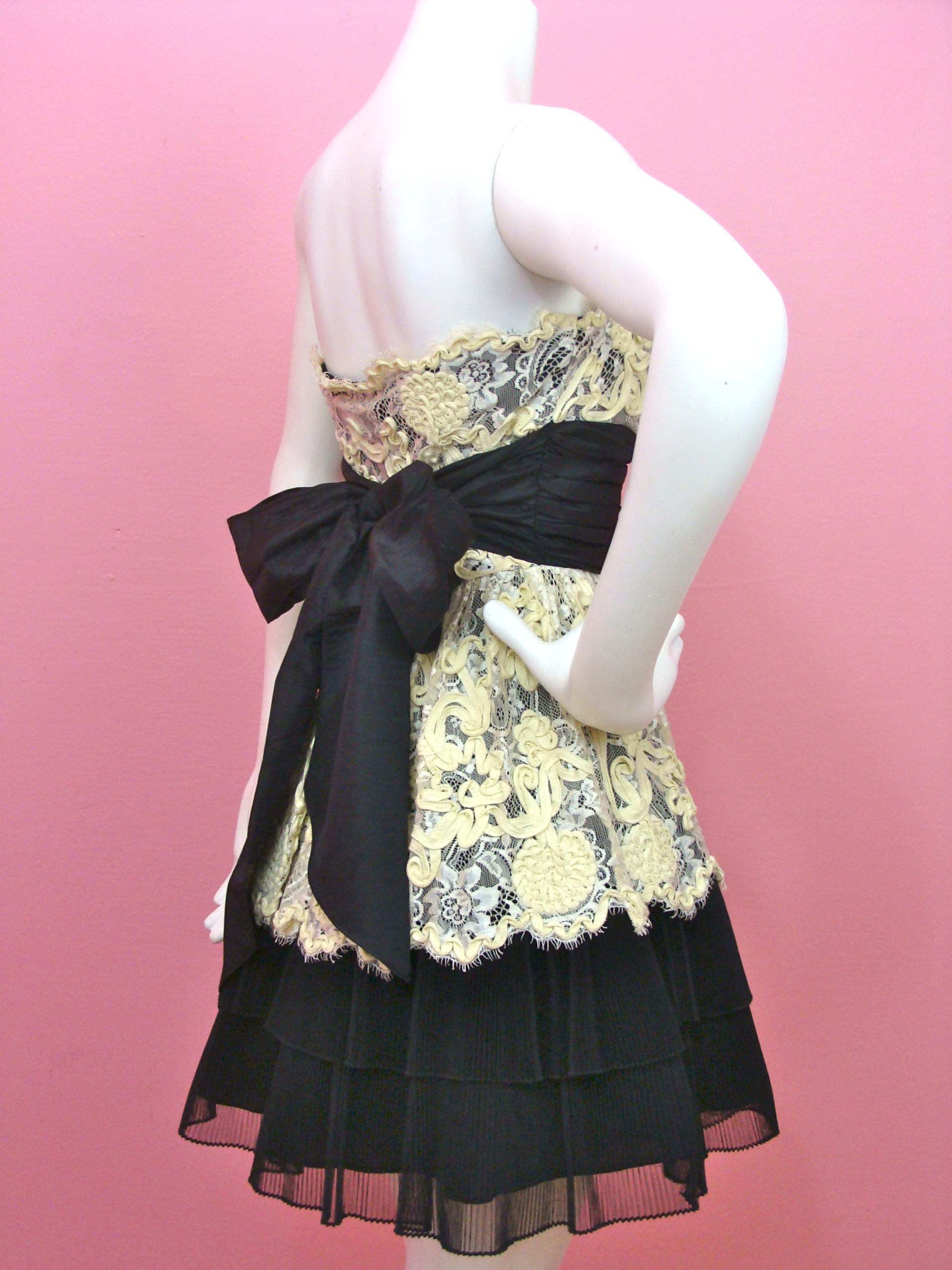 Betsey Johnson Cotton Tape Strapless Dress