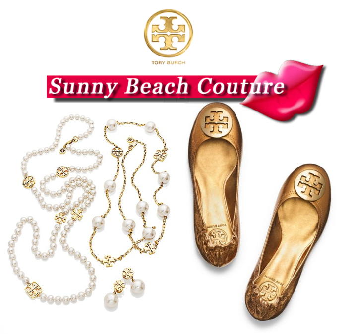 Tory Burch Classic Pearls and Gold Metallic Reva Ballet Flat