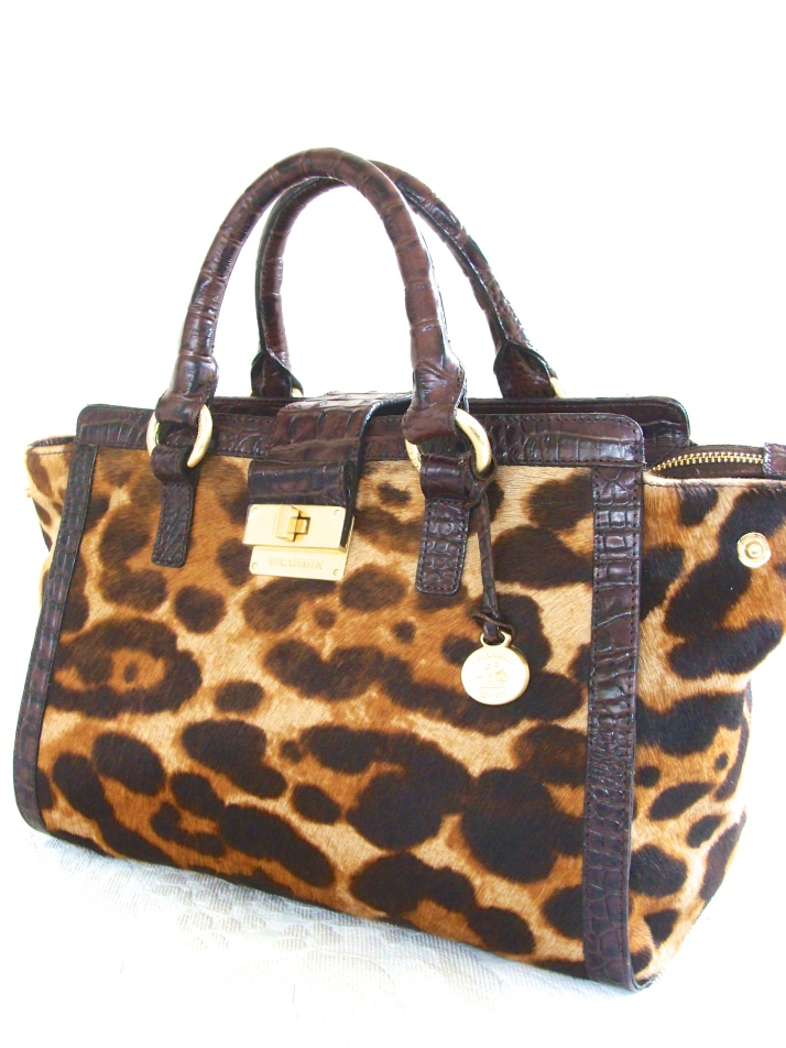 Brahmin Annabelle Brown Leopard Luxe Calf Hair Melbourne Leather Satchel Bag