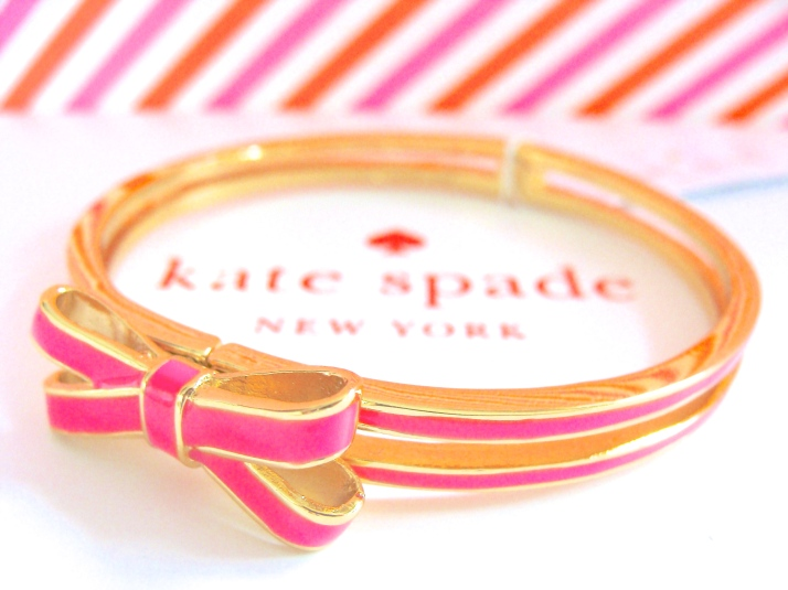 Kate Spade Pink Double Bow Hinged Bangle