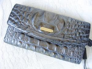Brahmin Soft Checkbook Gunmetal Melbourne Wallet