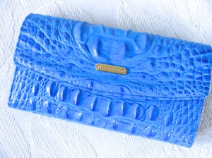Brahmin Soft Checkbook Marine Melbourne Wallet Croco Leather