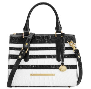Brahmin Black and White Corsica Anywhere Convertible Satchel