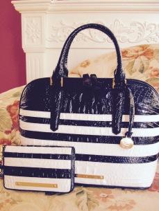 Brahmin Black White Corsica Vivian Satchel Bag