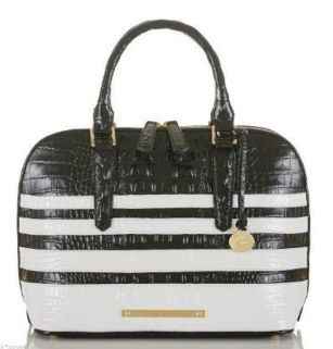 Brahmin Vivian Dome Satchel Black White Corsica Bag