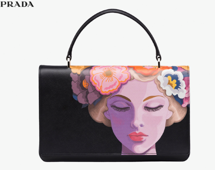Prada Top Handle Black Lisa Motif Bag